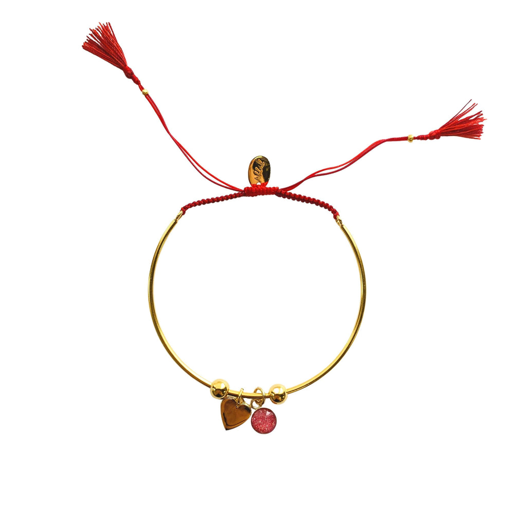 Bianca Bracelet with Heart Charm - Red - Gold