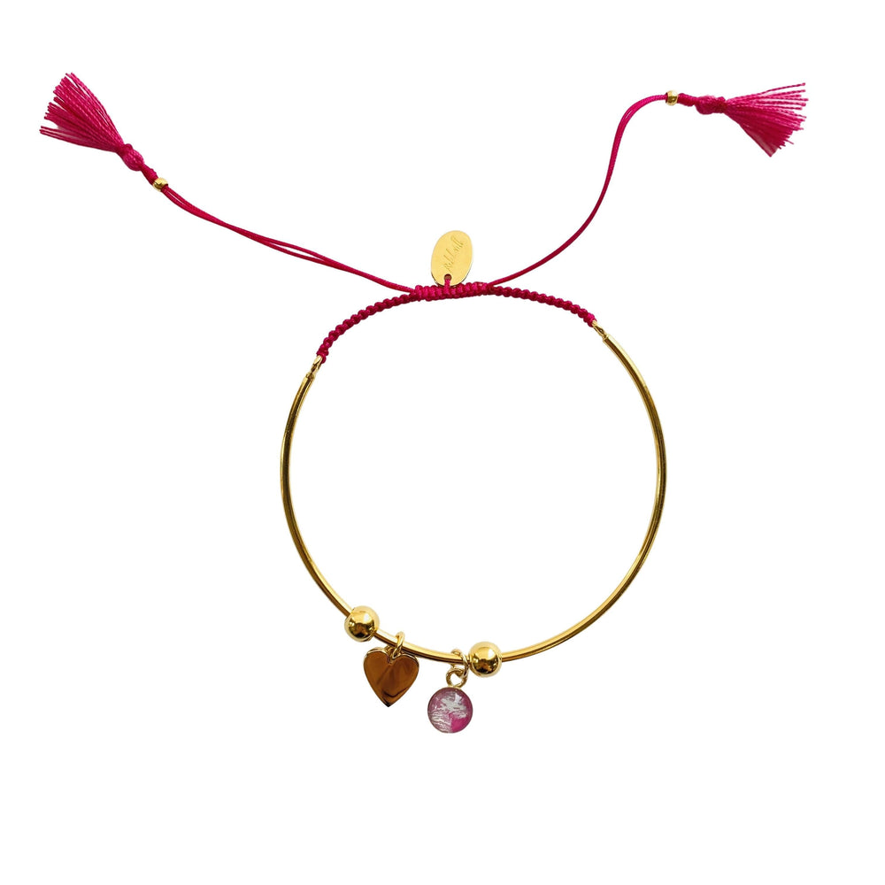 Bianca Bracelet with Heart Charm - Pink - Gold