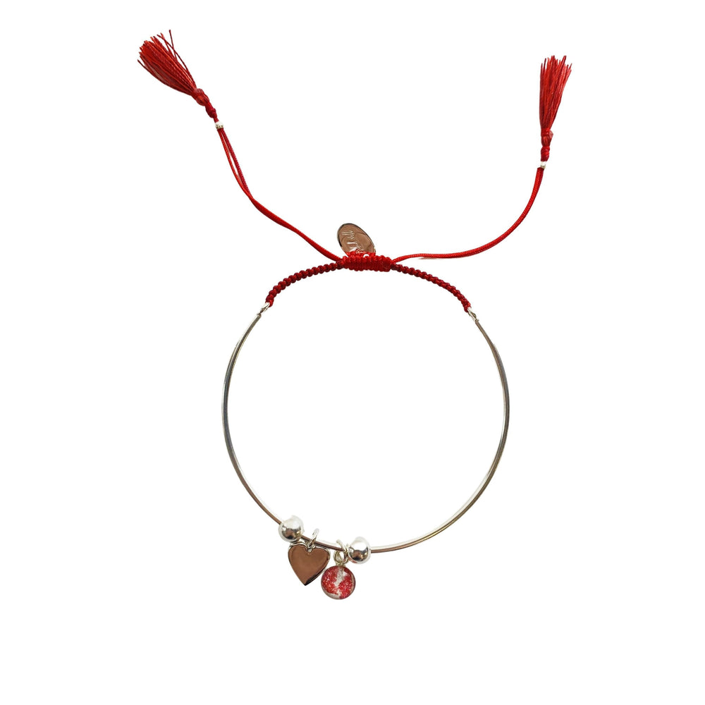 Bianca Bracelet with Heart Charm - Red - Silver
