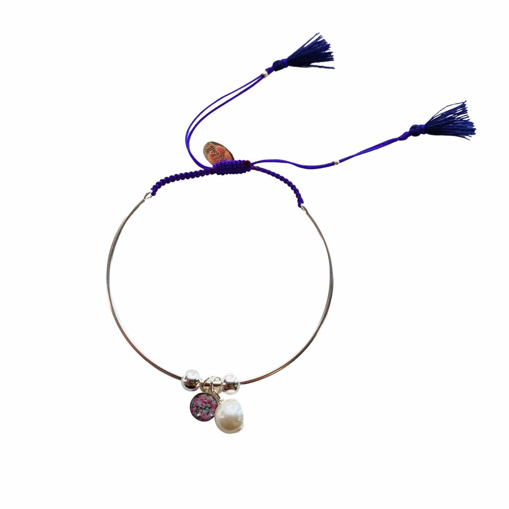 Bianca Bracelet with Pearl Charm - Purple - Silver