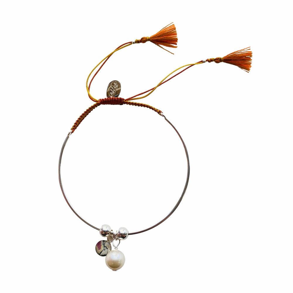 Bianca Bracelet with Pearl Charm - Orange/Yellow - Silver
