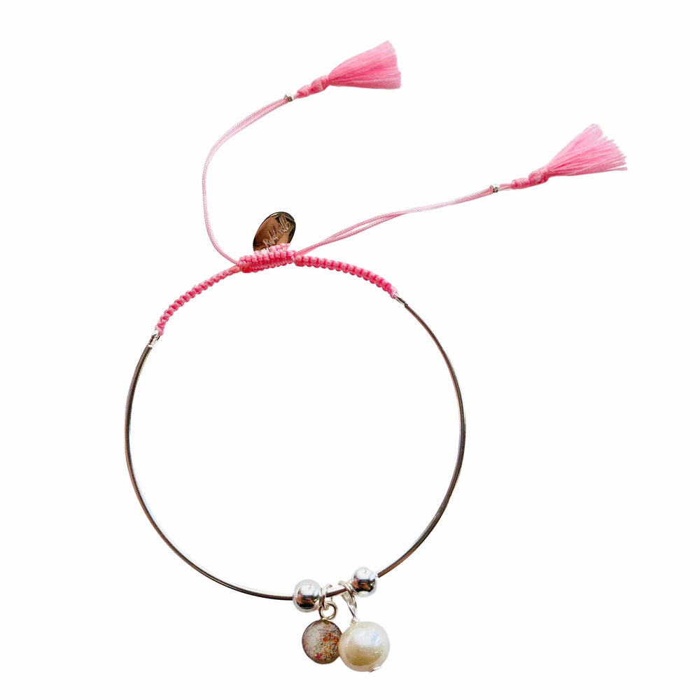 Bianca Bracelet with Pearl Charm - Light Pink - Silver