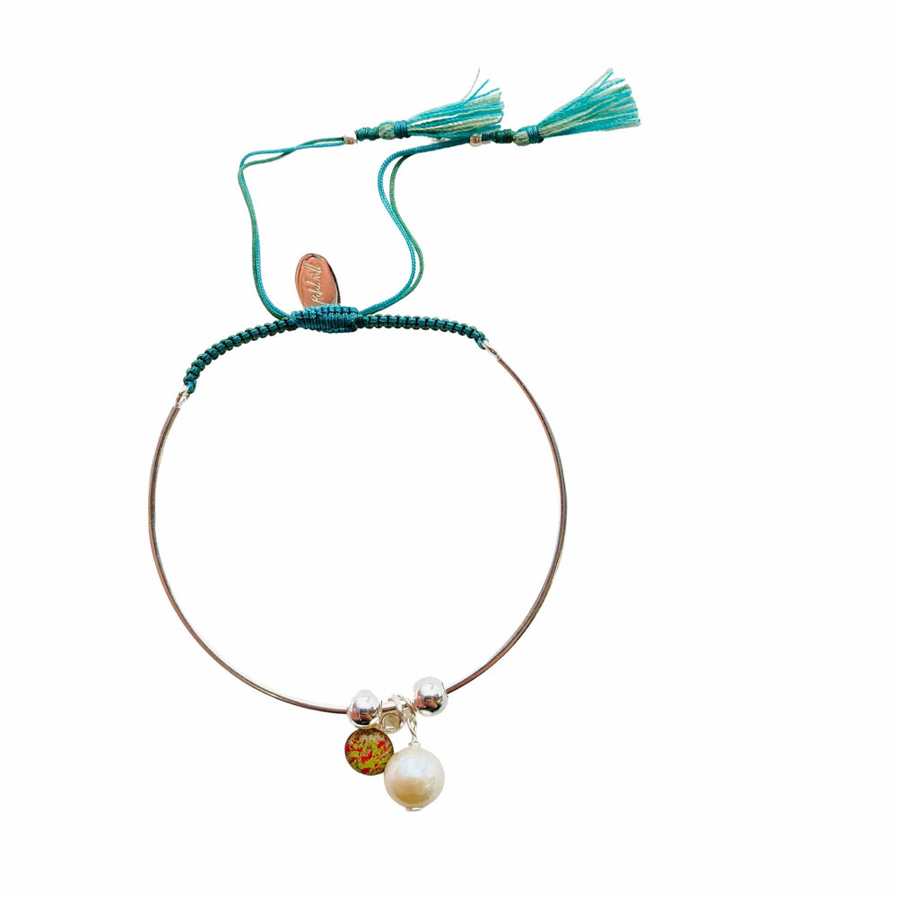Bianca Bracelet with Pearl Charm - Teal/Light Green - Silver