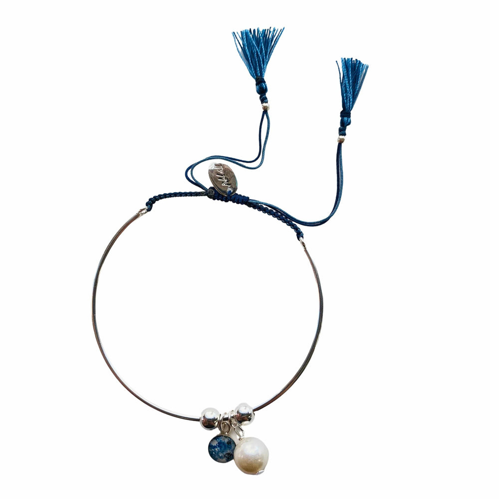 Bianca Bracelet with Pearl Charm - Navy/Light Blue - Silver