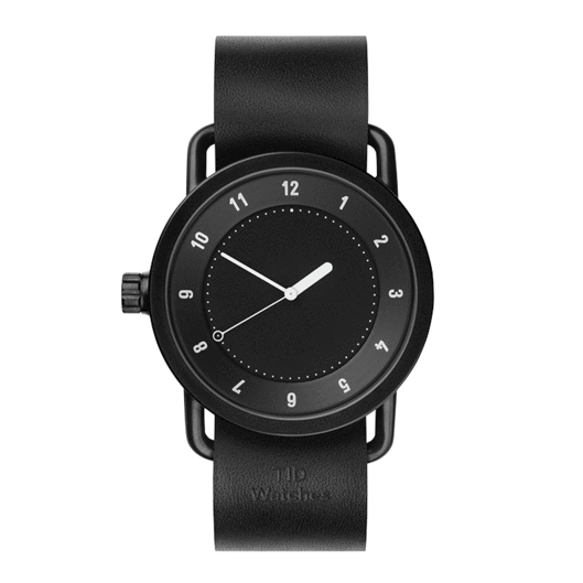 TID WATCH No1 40mm Black/ Black Leather Wrist Band
