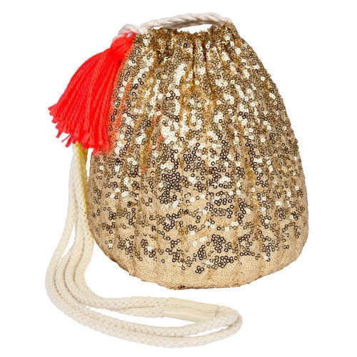 Meri Meri Gold Sequin Drawstring Bag