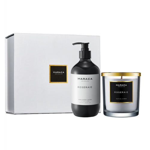 Maraca Luxury Gift Set Candle & Hand and Body Lotion - Roseraie