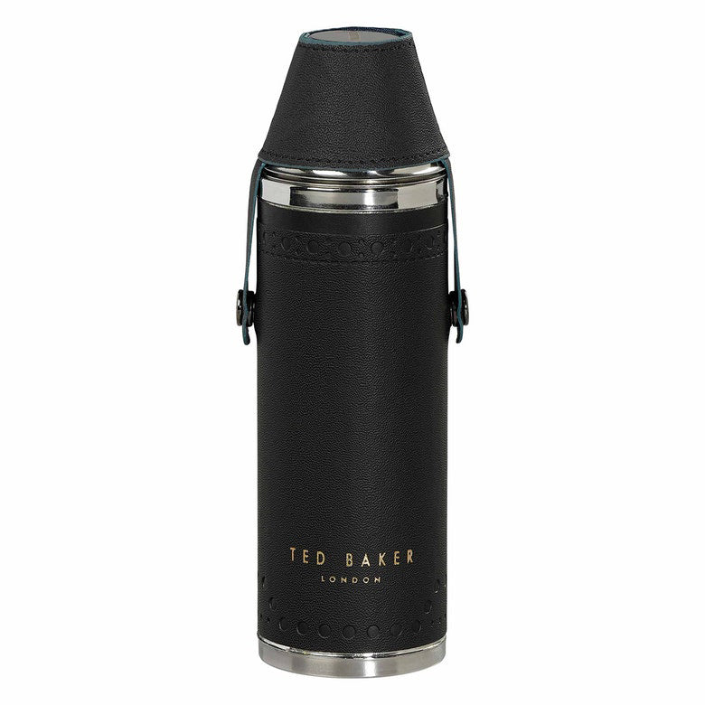 Ted Baker Hip Flask with Shot Glasses Black Brogue Monkian