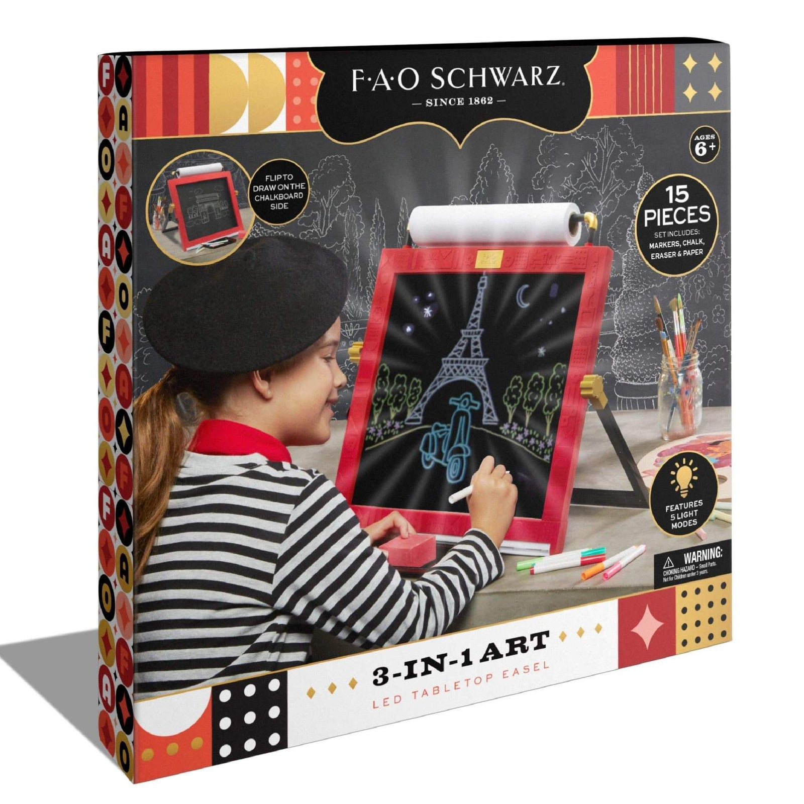 FAO Schwarz Toy Easel Tabletop LED 3 in 1