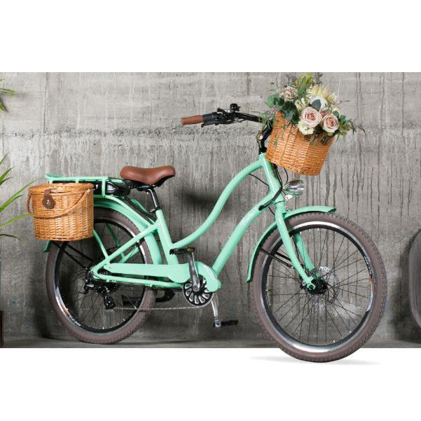 The freedom is stylish electric bike with a retro feel.  Featuring a rechargeable battery, the Freedom is stylish, economical & environmentally friendly. Electric bikes by New Zealand's Cool Bikes.  Perfect for your daily commute or weekend rides. E-bikes make a perfect gift for all.
