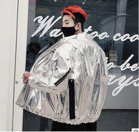 Men Laser Metallic Windbreaker Harajuku Wind Jacket Coat Women Luxury Glossy oversized Coat Hip hop Silver Shiny Leather Jacket