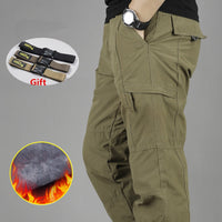 Men's Waterproof Cargo Pants Double Layer Winter Thicken Fleece Cargo Pants Casual Military Tactical Baggy Pants Warm Trousers