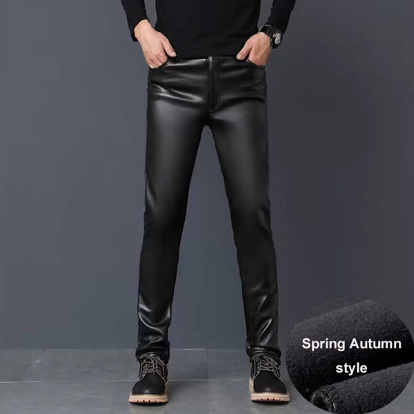 #2201 Winter PU Faux Leather Pants Men Skinny Windbreak Waterproof Motorcycle High Elastic Tight PU Leather Trousers Plus Size