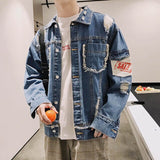 Hot 2020 Autumn winter Hong Kong wind hole denim jacket men's loose student gown Korean trendy handsome large size men's jacket