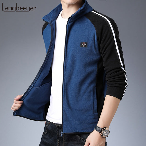 2021 New Fashion Wind Breaker Jackets Mens Autumn Winter Trend Street Wear Overcoat Fleece Jacket Casual Coat Mens Clothing