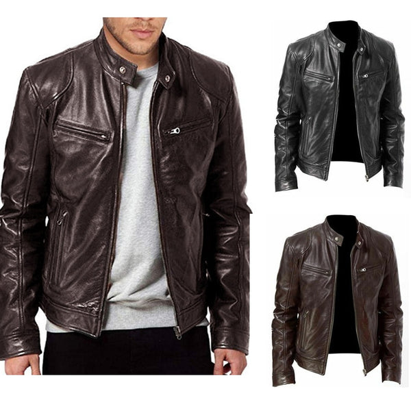 2020 Autumn New Men's Casual Fashion Stand Collar Slim PU Leather Jacket Solid Color Leather Jacket Men Anti-wind Motorcycle