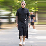Diablo front short back long long-sleeved shirt large size shirt personality robe jacket tide male lazy wind