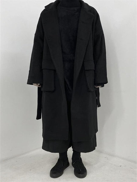 Minimalist style Yoji Yamamoto dark wind in the long woolen coat jacket for men and women