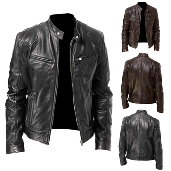 2021 Autumn New Men's Casual Fashion Stand Collar Slim PU Leather Jacket Solid Color Leather Jacket Men Anti-wind Motorcycle