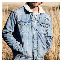 Winter Denim Coat Stitching Loose Thick Men Jacket Thick Wind Resistant Denim Jacket Factory Direct Sales Hot Selling Men Coat