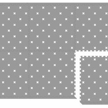 Load image into Gallery viewer, Tile Playmat - White Nordic cross on grey (6 tiles)-Playmats-Hello Bub Hub
