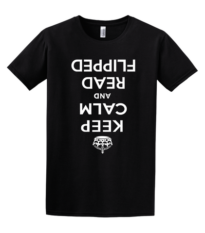 ǝǝ┴ pǝddᴉlɟ pɐǝɹ puɐ ɯlɐɔ dǝǝʞ - Keep Calm and Read Flipped T-shirt - Improshare Custom Tees