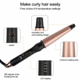 Conical Ceramic Hair Curler with Heat-resistant Gloves