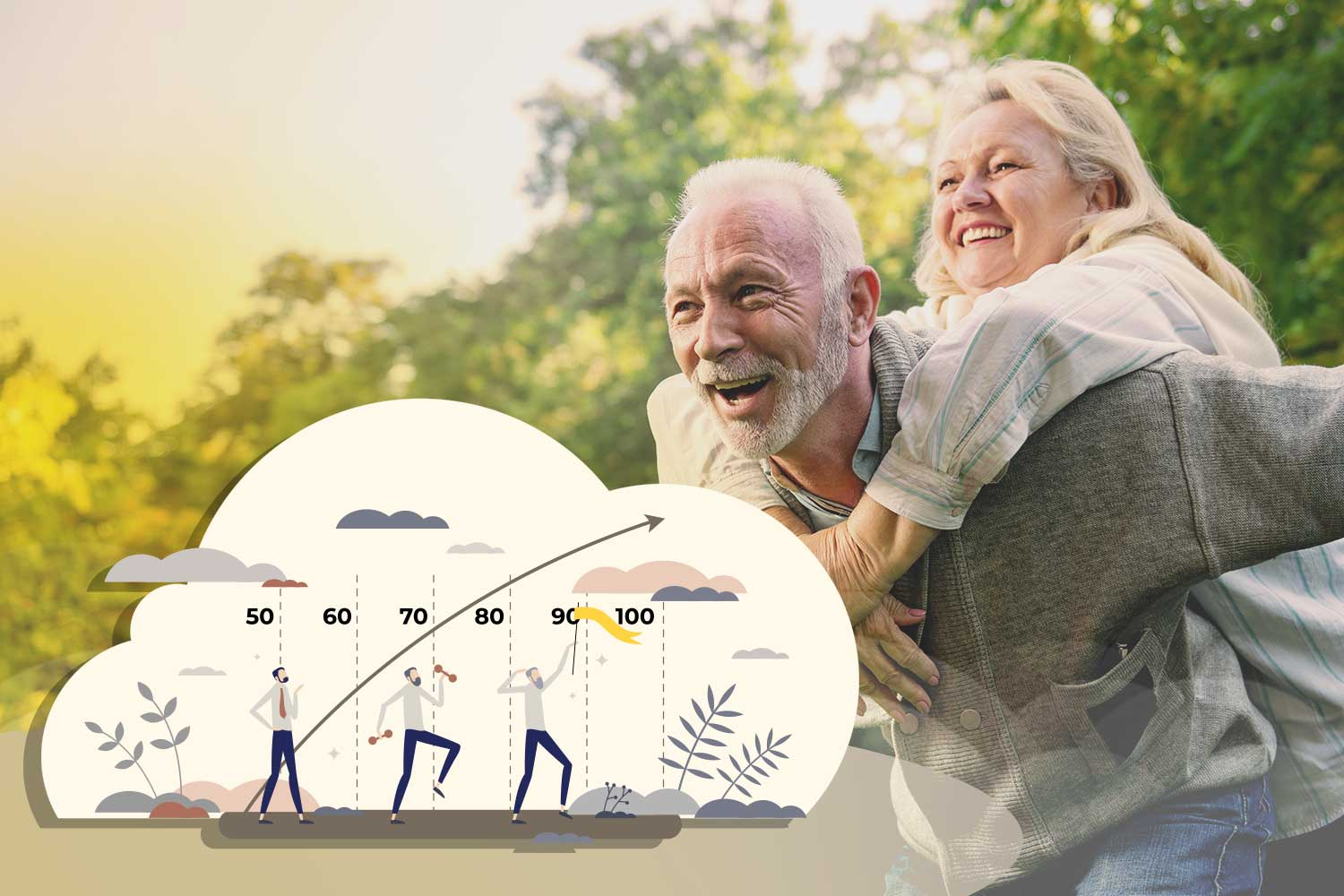 Picture of happy middle age couple and graphic of longevity path with vitamin d3