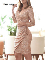 First song women's sexy deep V-neck sequins stretch material long dress 2019New autumn and winter cut long-sleeved banquet dress
