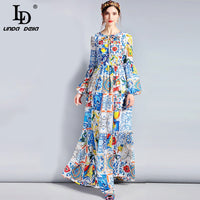 LD LINDA DELLA Fashion Designer Maxi Dress 5XL Plus size Women's Long Sleeve Boho Colorful Flower Print Casual Long Dress