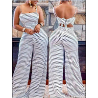 New arrival Women's Strap Sleeveless Jumpsuit Polka Dot Wide Leg Romper Ladies Casual Slim Playsuit Holiday Party Wear Summer
