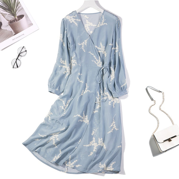 Women's 100% Pure Silk V neck Puff sleeve Two Layers Blue Floral Printed Long Dress JN024