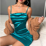 Women's Spaghetti Strap Vintage Summer Draped Satin Silk Bodycon Slim Party Evening Mini Dress