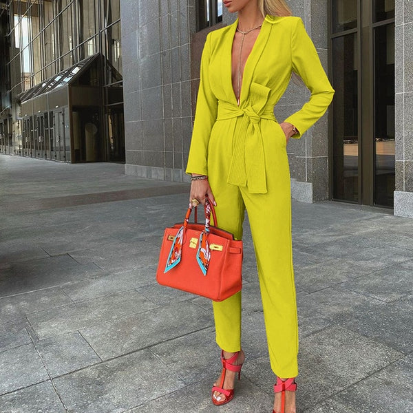 2020 fall European and American women's sexy fashion solid color tie deep V casual high-quality jumpsuit