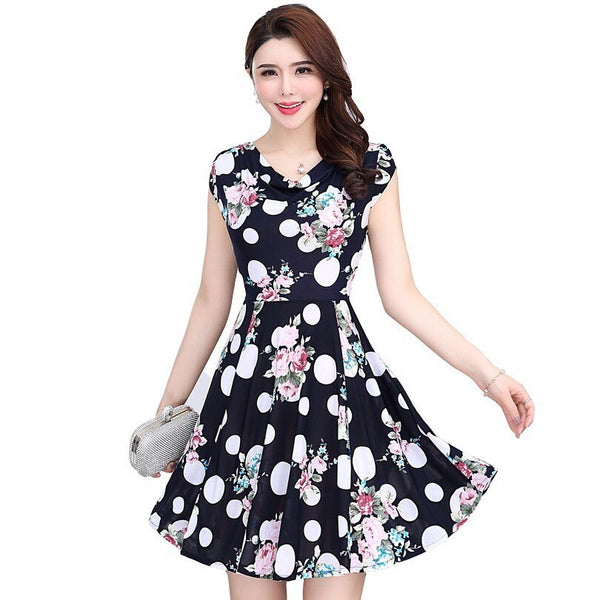 Women Dresses Women's Milk Silk Dress Short Sleeves Vintage Printed Flower Print Sundress Casual Sexy Bodycon Clothes