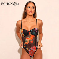Echonight Lace Bodysuit Floral Women's Rompers Bodycon Transparent Women's Jumpsuit Sexy Babydolls Sleveless Overalls Body Suit