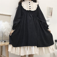 Japanese Style 2020 Autumn Women'S Dresses O-Neck High Waist Slimming Contrast-Color Ruffled Sweet Lolita Dress Kawaii Clothing