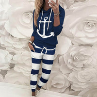 Autumn leisure anchor print women's sports suit fashion loose hooded collar long sleeve T-shirt and trousers two-piece suit