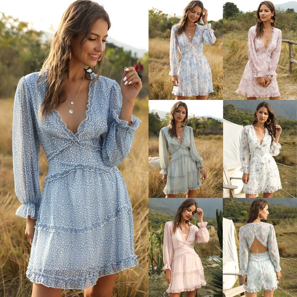 Mini Dresses Women's Casual Boho Fashion V-neck Floral Ruffle Dress Summer Beach Clothes For Women Vestido 2021 New