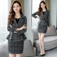 autumn dress new women's dress Korean version fashion woolen dress two-piece set of small Hong Kong style material suit dress