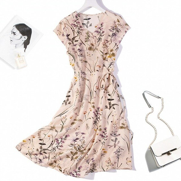 Women's 100% Pure Silk Cap Sleeve Two Layers Floral Printed Long Wrap Dress M L XL JN479