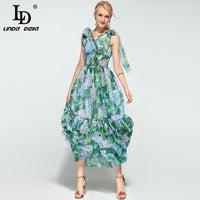 High Quality Summer Boho Beach Maxi Dress Women's Sleeveless V neck Tiered Floral Print Green Casual Long Dress