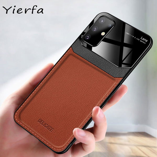 For Samsung Galaxy S20 S21 Ultra Case PU Leather Plexiglass Shockproof Bumper Phone Case For Samsung Galaxy S20 Plus Back Cover