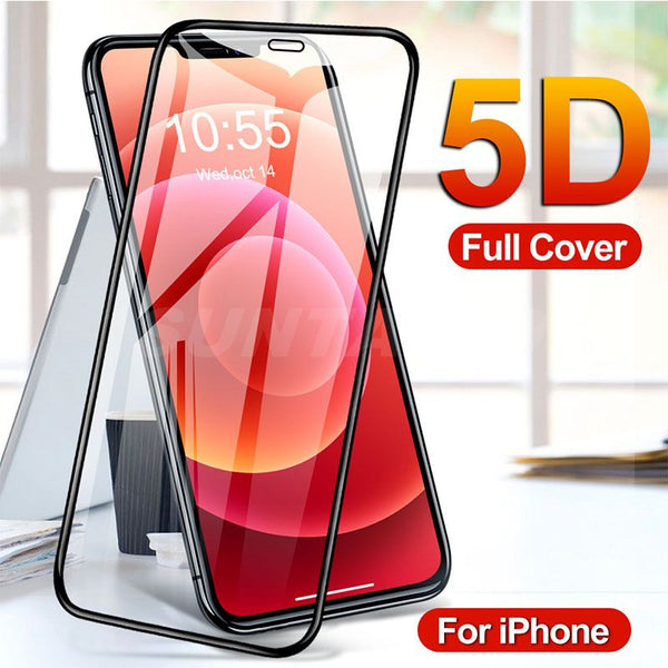 5D Full Cover Protective Glass for iPhone 12 Pro Max Mini Screen Protector for iPhone 11 XS Max XR X 8 7 6s Plus Protective Film