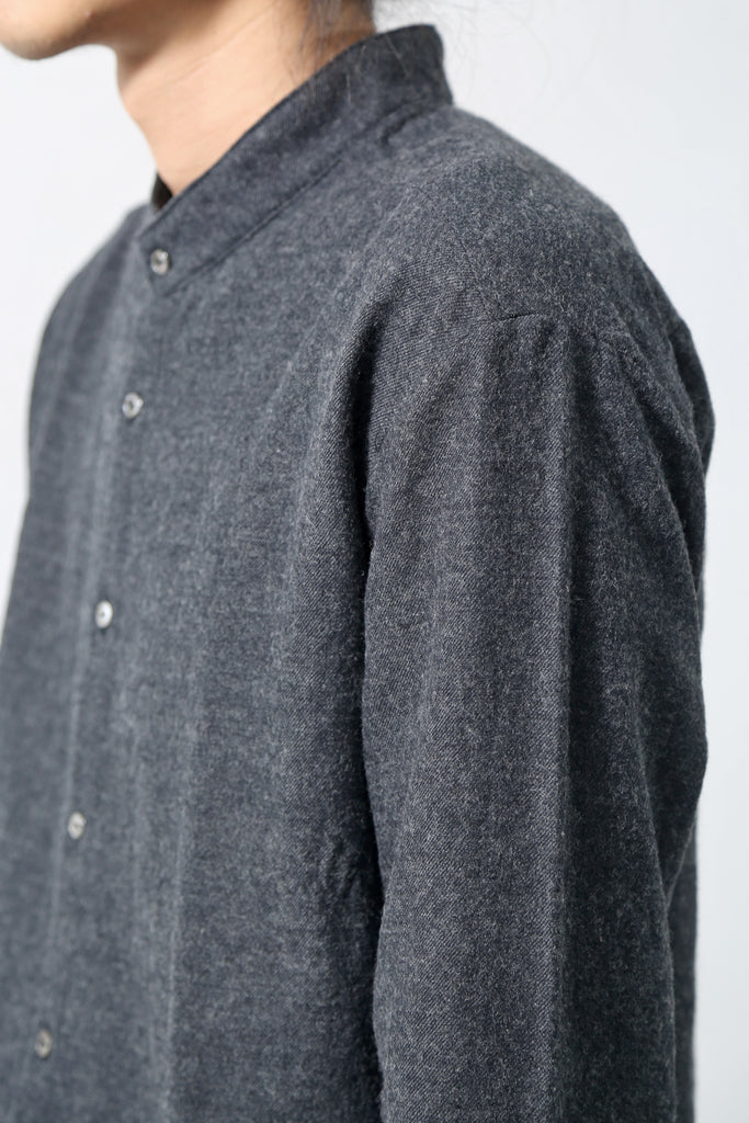 1902-SH07 Stand Coller Wool Long Shirt