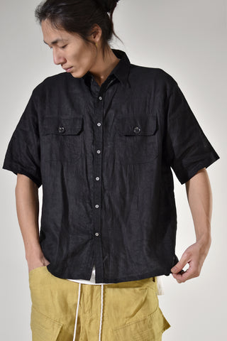 2001-SH04A Linen Box Shirt Black
