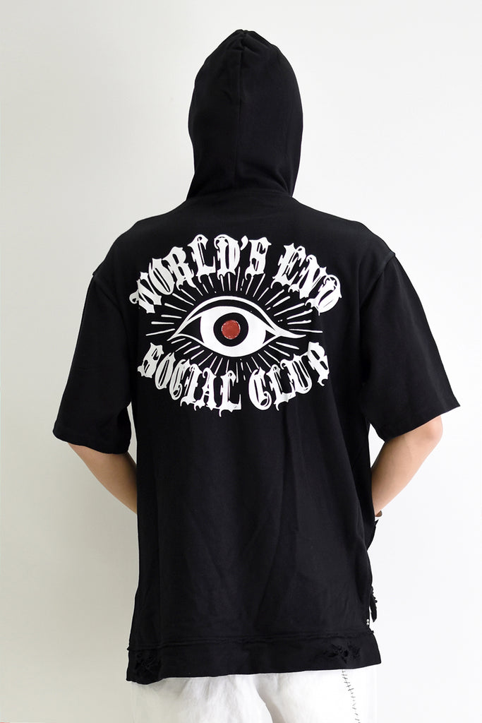 1901-TP02B World's End Hooded Crush Pullover 01 Black