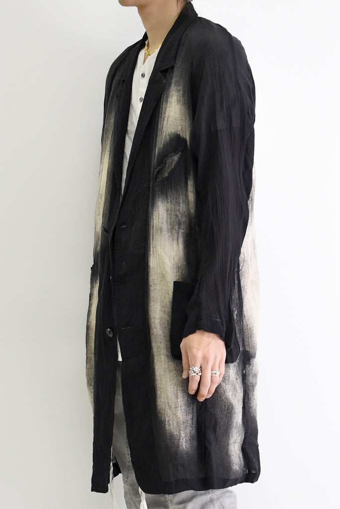 1901-JK14B Discharge Crepe Coat Black