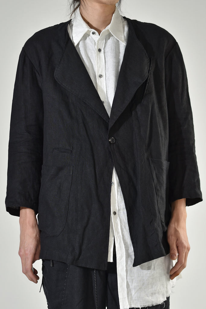 2001-JK01A No collar Linen JKT Black