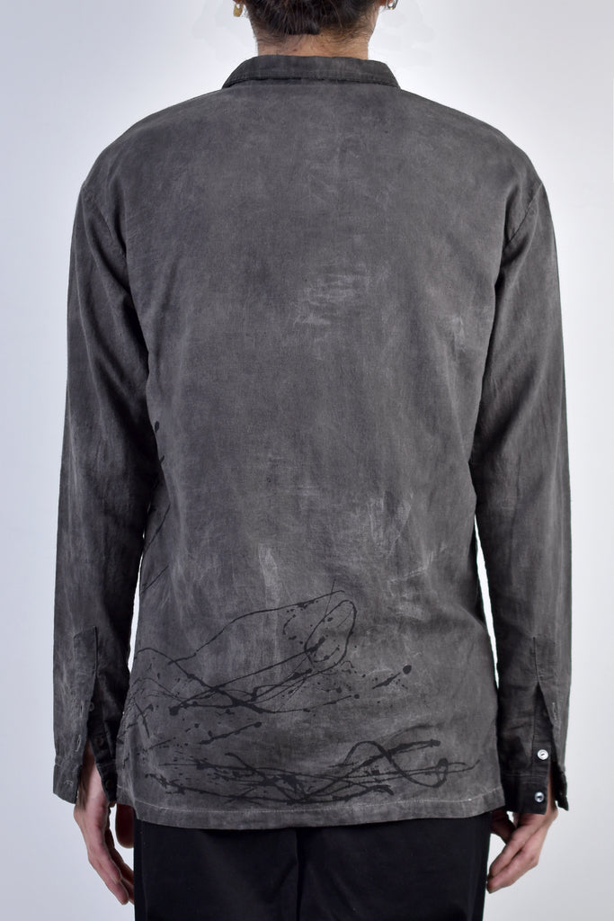 2002-SH06B Splash Cotton Ramie Shirt D.Charcoal